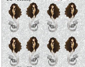 Mermaid Stickers Planner Stickers Silver Brown Hair Brown Skin