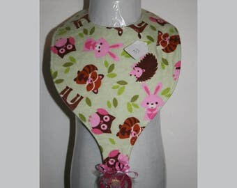 "Baby Bibs, Pacifier Bibs, Bibs with Pacifier, Bibs, Pacifier, "" Forest Animals"" Forest Critters"