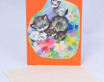 Kittens. 1970s Vintage Greeting Card
