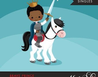 Brave Prince Clipart African American dark skin. Cute prince graphic, horse, crown, single clipart. horse, boy, prince illustration, sword