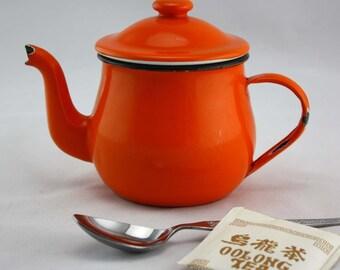 Small Enamel Tea Pot in Orange - Vintage Kitchen - Retro Tea Kettle
