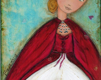 Ladybug Fairy -  Giclee print mounted on Wood (4 x 5 inches) Folk Art  by FLOR LARIOS