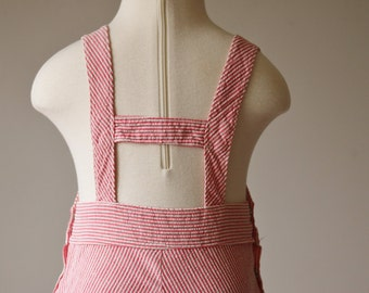 1940s Candycane Striped Overalls >>> Size 12 Months