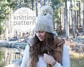Knitting Pattern / Chunky Slouch Knit Hat With Pom Pom / The SPRAGUE Hat / PDF