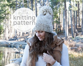 Knitting Pattern / Chunky Slouch Knit Hat With Pom Pom / The SPRAGUE Hat / PDF