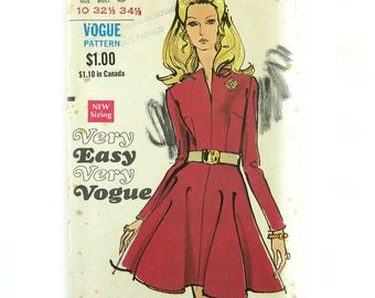 1960s Misses Sewing Pattern / Flared Skirt Dress with Fitted Bodice and Slit Neckline / Vintage Vogue 7637 / Size 10 UNCUT FF