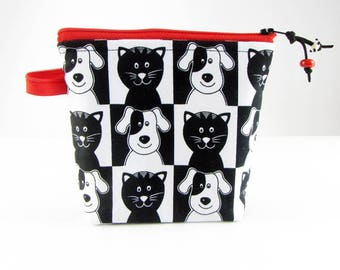 Cats & dogs, cosmetic bag, padded makeup bag, cosmetic travel bag, toiletry bag for her, make up bag, accessory bag, fabric jewelry bag