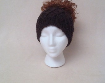Black Ponytail Beanie, Runner's Messy Bun Ear Muffs Hat, Wide Headband, Honeycomb Hat With a Hole