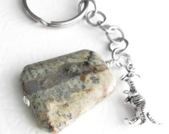 Fossil Poop Keychain, Real Dinosaur Coprolite, Accessory for Men, Geology Gift