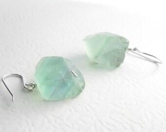 Mint Green Fluorite Earrings, Natural Crystal Jewelry, Sterling Silver Hook
