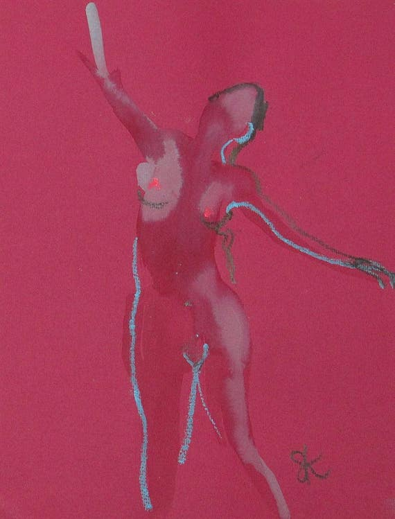 Nude painting of One minute pose 102.3 - Original nude painting by Gretchen Kelly