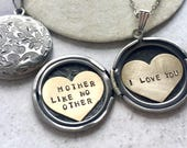 Custom message locket necklace, Mothers day gift Personalized jewelry, Custom hand stamped, Mother Like No Other, I love you locket necklace