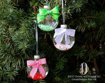 Set of 3 Red Green White Diamond Glass Disk Ornament, Satin Ribbon, Gingham Plaid Silver White Ribbon, Christmas Holiday Tree Decor