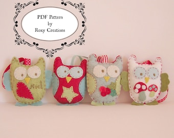 PDF felt sewing PATTERN Owl Christmas decorations
