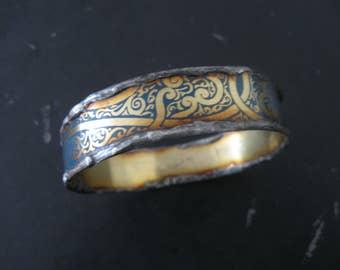 Recycled Tin Bangle Bracelet No.6 - Medium Size - Turquoise and Gold