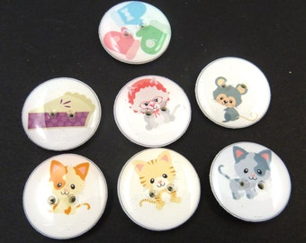 """7 Three Little Kittens Have Lost Their Mittens Nursery rhyme buttons.  3/4"""" or 20 mm. Handmade by Me.  Washer and Dryer Safe."""
