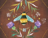 Bee Art Print | Insect Painting | Nature Wall Art | Katie Daisy | 8x10 | 11x14