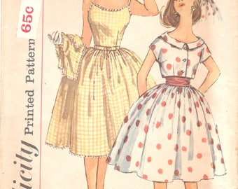Simplicity 3471 1960s Misses Sleeveless Party DRESS ONLY Pattern Shoulder Straps Full Skirt Womens Vintage Sewing Pattern Size 12 Bust 32