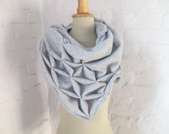 geometric cotton shawl - organic cotton, sculptural wrap - triangular
