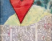 Waiting For You - Heart Art, Mixed Media Collage on Paper With Stitching and Words, 7x5 Inches Original, Matted to 10x8 inches