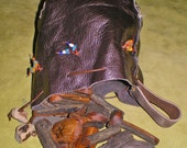 Lightning Struck Oak and Leather Casting Cup Pouch