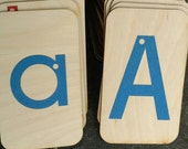Lowercase and Uppercase Sandpaper Letters on 3x5 Birch wood
