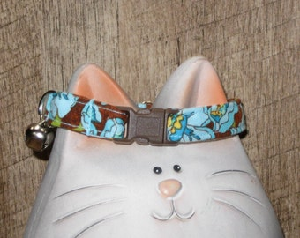 Breakaway Safety Cat Collar in Cotton Fabric, Soft and Comfortable, Brown and Turquoise Flower Design, Adjustable Sizes for Kittens and Cats