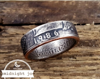 1986 Coin Ring Custom Size Double Sided Year Liberty Washington Quarter Coin Ring