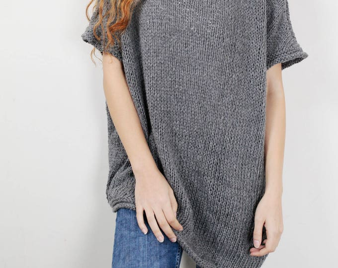Hand Knit oversize sweater Long wool Drop shoulder sweater asymmetrical GREY pullover
