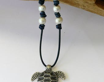 Sea Turtle Leather and Pearls Necklace - Silver Sea Turtle Necklace - Leather and Pearl Sea Turtle Necklace - Pearl Sea Turtle Necklace -