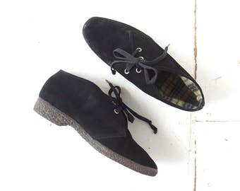 Black Ankle Boots | Chukka Boots | 1970s Boots | Suede Booties | Size 10 10.5