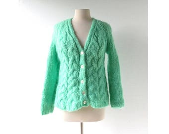 Vintage Mohair Cardigan | Pistachio Green Sweater | 60s Sweater | M L