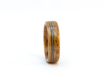 Wooden Ring, Wood Ring, Mahognay and Guitar String Ring, Wood Wedding Ring, Men's Wooden Ring, Man's Wedding Band Men, Bentwood Ring