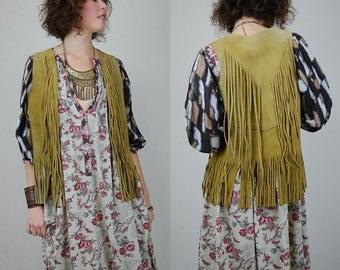 Leather Fringe Vest Vintage 70s Raw Fringe Suede Folk Bohemian Hippie Vest (s m)