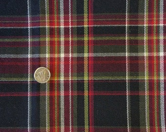 WL004 ~ Wool fabric Plaid wool Black Red Green White plaid Lightweight