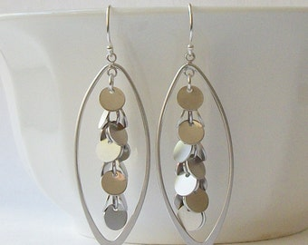 Silver Cluster Dangle Earrings