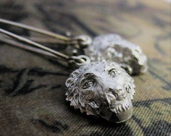 SILVER LION EARRINGS lion jewelry lion head animal jewelry dangle earrings vintage lion earring handmade Leo Earrings lion drop earrings