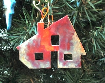 Home Sweet Home Christmas Ornament, Xmas Decoration, Bless This House, God Bless Our Home, Rustic Copper Cabin, Holiday Decor, Message Gifts