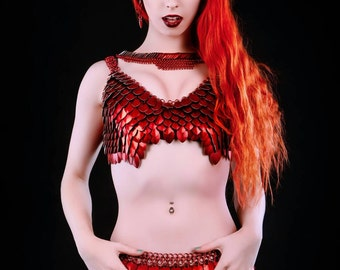 The Rainbow Queen-Deluxe Scale Maille scalemail chainmaille dragon scale colorful red bra halter top