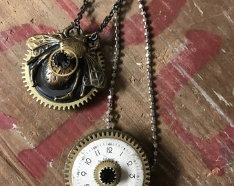 Steampunk Bee Necklace, Mechanical Bumble Bee, Assemblage, Insect Jewelry, Bee Lovers