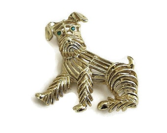 Gold Tone Open Work Shaggy Dog Brooch Vintage signed Gerry's