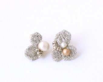 NEW - Hand Embroidered Earrings with Cotton Pearl - MIX 13