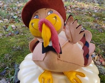 Annalee Mobilitee Thanksgiving Turkey Felt Doll Vintage 1989