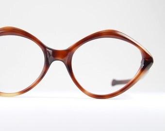 Vintage  Tortoise Eyeglasses Frame Geometric Diamond Shaped Cat Eyeglasses Optical Eyewear 1950s NOS