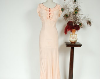 Vintage 1930s Nightgown - Sensational Peachy Pink Bias Cut 30s Nightgown with Ruffles and Burgundy Trim