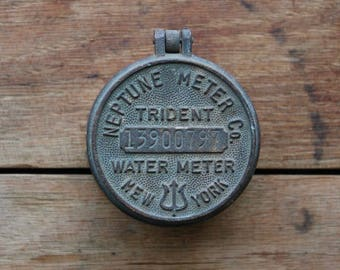 Industrial Water Meter Cap Cover, Neptune Meter Company, New York Water Meter, Trident Water Meters, Industrial Salvage, Metal Numbers