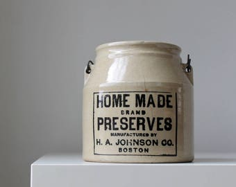 Homemade Preserves Crock, Antique Kitchen Crock, Pottery Jam Crock, Johnson Boston Home Made Preserves, Rustic Farmhouse Kitchen Storage
