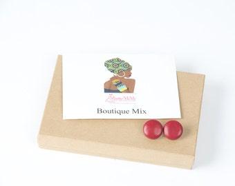 Minimalist faux red leather earrings