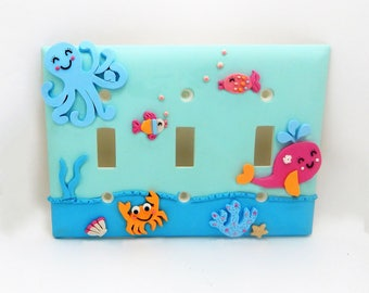 Under the Sea Children's Light Switch or Outlet Cover - Turquoise, Blue, Pink, Orange, - Nautical Themed - Toggle or Rocker Cover
