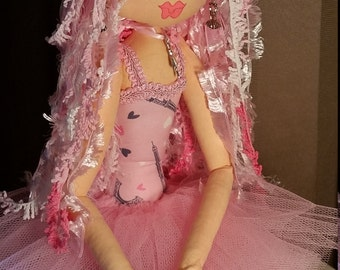 Cloth Art Doll - Sophie - A Ballerina - pretty in pink